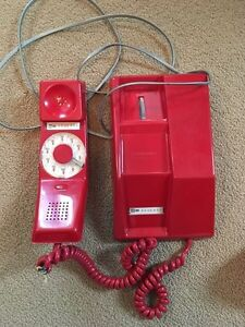 Antique Red Rotary Dial Telephone Strathcona County Edmonton Area image 1