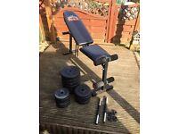 York adjustable bench & weights