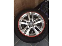4-16inch Mercedes Benz Alloys and Wheels + Red rim protector £200= 4 wheels