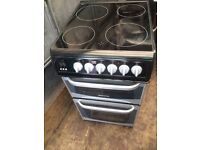 Black & silver cannon 50cm ceramic hub electric cooker grill & fan oven good condition with guara