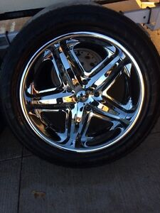 "22"" DUB wheels with tires London Ontario image 3"