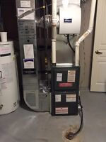 Furnace repair and service Gas line. Red tags.