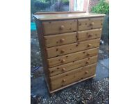 Large Ducal solid pine chest of drawers