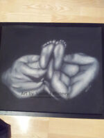 25.5 by 21 Framed Original Charcoal Hands & Baby Feet by JMoneey