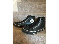Black Leather converse hi tops, Uk Size 9