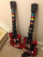 Two guitars and rock band game