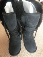 NEW! Emu Black Suede Sheep's Wool-Lined Women's Boots Sz8