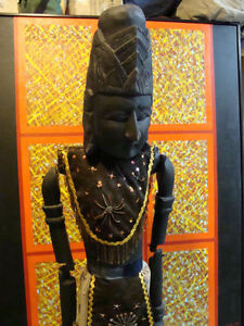 Original 2 large wood puppets from Indonesia