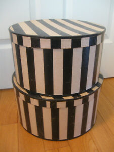 Pr. MATCHING ROUND VENTED FASHIONABLE STRIPED HAT BOXES