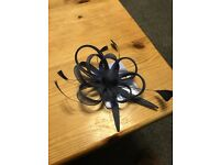 Claire's navy blue hair fascinator