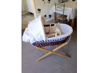 Beautiful MOTHERCARE moses basket & stand in EX condition! Leather handles, hood + mattress...
