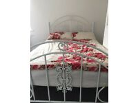 White double size bed frame with matters very good condition and high quality used bed