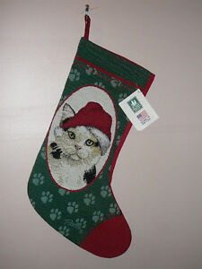 Tabby, Calico Cat Tapestry Christmas Stocking, by Linda Pickens