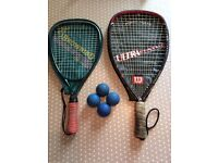 Wilson and Browning racketball rackets