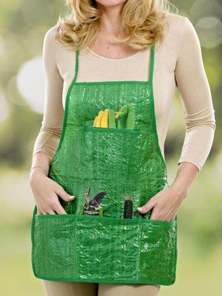 Gärtnerschürze Gartenschürze Schürze mit 3 Taschen für Hobbygärtner umtopfen usw