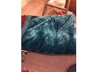 Large fluffy blanket turquoise colour