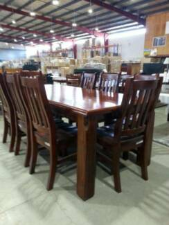 Spring 1800 Large High Quality Wood Made Dinning Table w 8 chairs