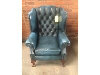 Blue Chesterfield Leather Queen Anne Wing Chair - UK Delivery