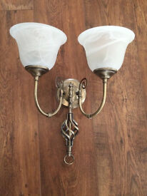 Wall light with glass shades like new