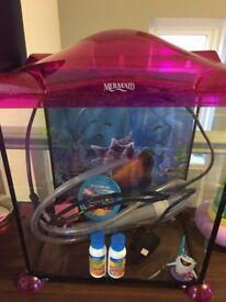 Mermaid pink glitter fish tank