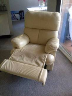 Beige colored Leather recliner great condition Chatswood Willoughby Area Preview