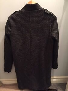 Women's wool coat with faux leather sleeves Cambridge Kitchener Area image 2