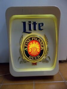 Miller Lite A Fine Pilsner Beer sign - lighted - made in USA
