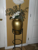 Wrought iron stand and vase