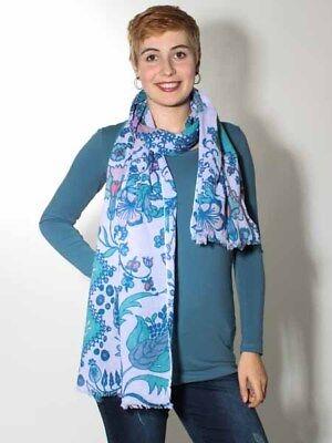 Floral Bedruckte Schal (Neu: Tuch Schal von Ivko wollweiss off white floral bedruckt Baumwolle)