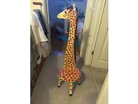 Teamson Kids Children's Wooden Giraffe High Backed Coat Stand and Stool Seat with Hooks