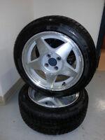2 - 195/50R15 M+S on Aluminum 4x100 Rims