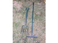 Garden rake and pitch fork