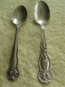 TWO OLD VINTAGE PLATED TEASPOONS..PERFECT for SPOON RINGS