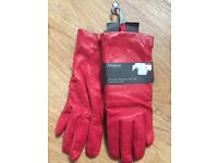 NWT M&S Marks & Spencer Womens Red Italian Aniline Leather Gloves Winter Cashmere Lined Size Medium