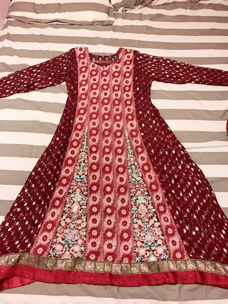 Anarkali, long maroon (dress)