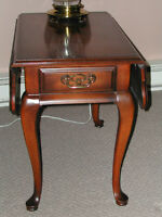 Wood Drop-Leaf End Table with Drawer