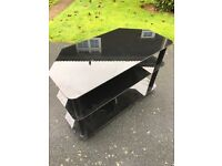 Glass black TV stand