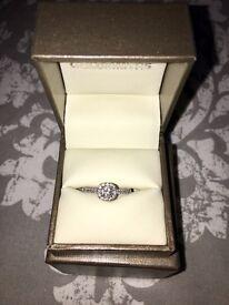 18ct white gold princess cut diamond ring size L