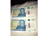 £5 new notes (AK11) (AJ31)