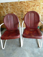 2 retro metal chairs- outdoor