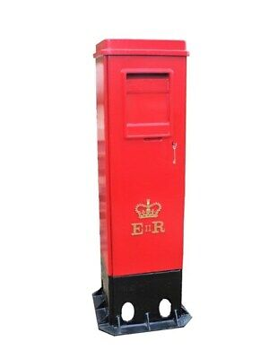 Rare Cast Iron Square ER II Pillar Box with Two Doors - Original Genuine UKAA