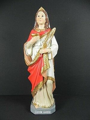 Santa Lucia, Holy Statue Italy, Italy, 29 cm Polyresin Figurine, New