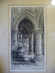 Original Etching of Roslyn Chapel, Edinburgh by Albany Howarth Stratford Kitchener Area image 2