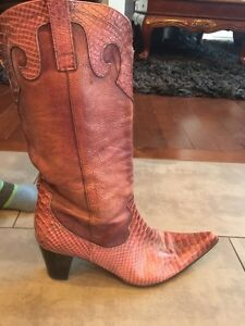 Pink 100% leather cowboy boots