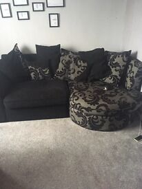 Corner sofa and swivel footstool