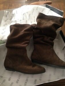 Brown suede slouch boots