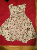 tube dress with flower pattern