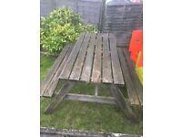 Pub garden bench.