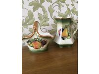 Staffordshire Iron Stone vintage jug and basket