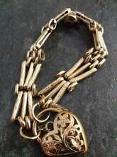 Ladies 9ct solid yellow gold heart locket bracelet Adelaide Region Preview